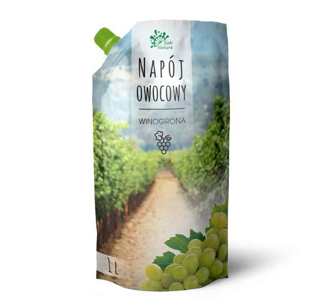 Projekt doypacka nanapój winogronowy zezdjęciem sadu