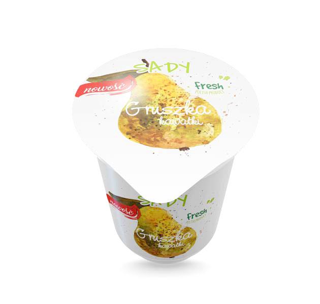 Projekt kubka iplatynki jogurtu osmaku gruszkowym zkawałkami owoców