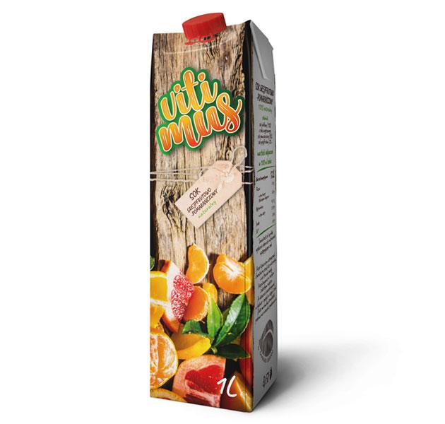 Projekt kartonika soku grajfrutowo-pomarańczowego marki Vitimus