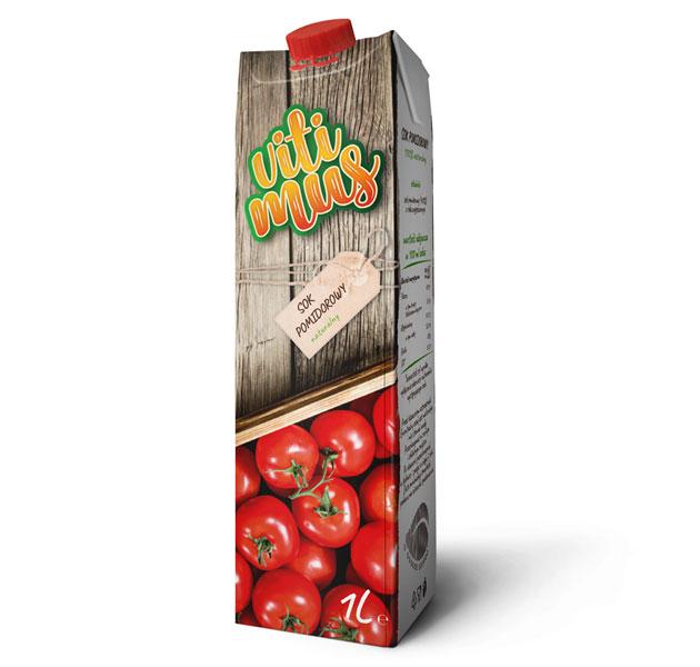 Projekt kartonika soku pomidorowego marki Vitimus